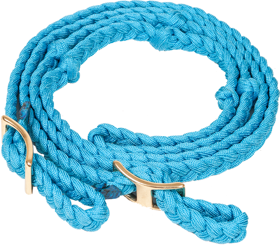 """NYLON FLAT BRAIDED KNOTTED BARREL REIN 3.4"""" X 8"""" - TURQUOISE"""