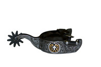 Mens Black Satin Cross Concho Spur