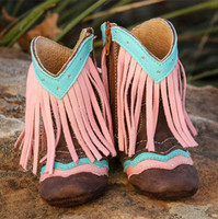 """LYDDIE"" PINK FRINGE FOREVER BOOTS BY SHEA BABY"