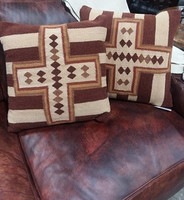 ESCALANTE' TAN AND BROWN CROSS DESIGN PILLOWS
