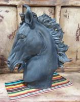 BLACK SCULPTED HORSE HEAD