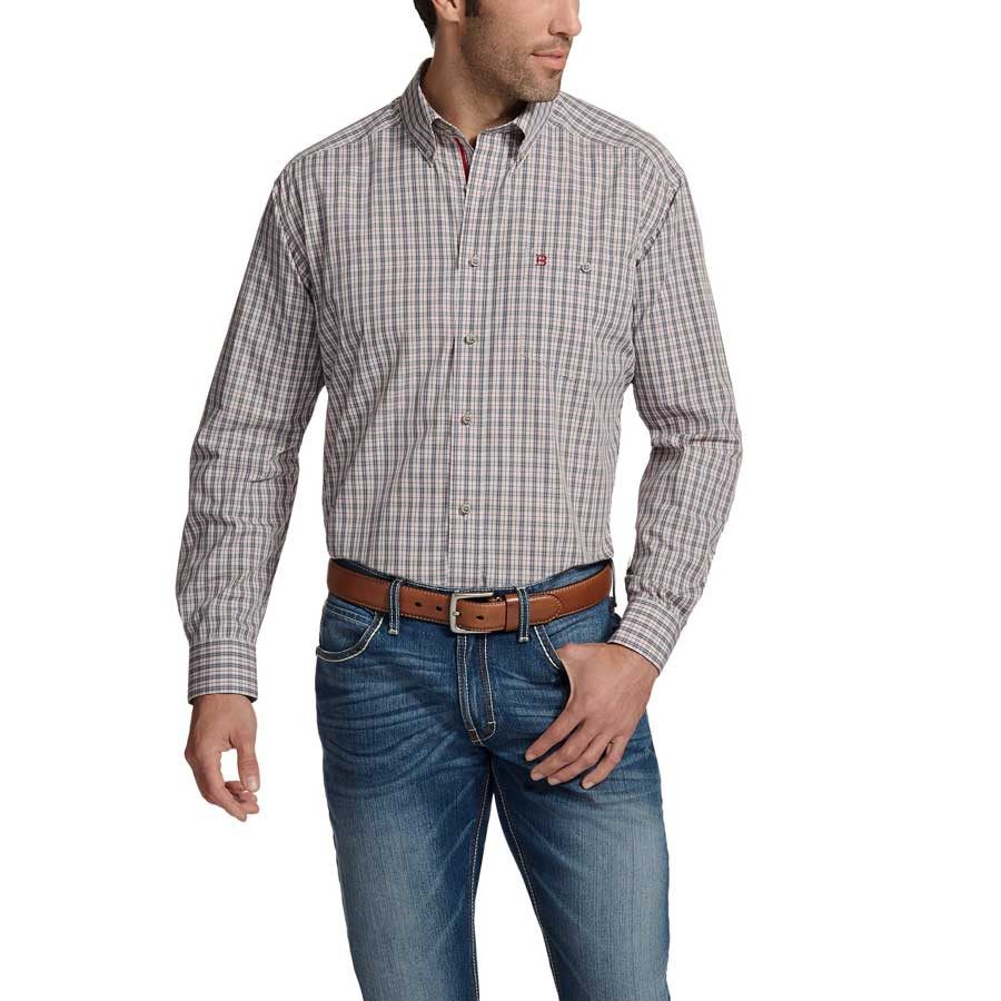 MEN'S RELENTLESS COLLECTION GREY/RED PLAID LONG SLEEVE BUTTON DOWN SHIRT BY ARIAT