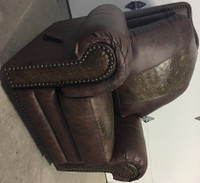 BROWN LEATHER WALLER RECLINER, ROCKER FROM DENNARDS