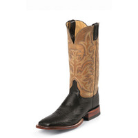JUSTIN BLACK SMOOTH OSTRICH PASCOE BOOT