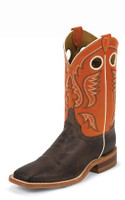 MEN'S JUSTIN BENT RAIL CHOCOLATE AMERICAN WESTERN BOOTS - FREE SHIPPING