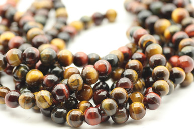 Tiger's Eye, Mix Color, Heated, Smooth Round