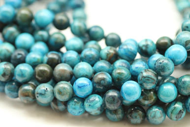Agate, Blue Crazy Lace, Dyed, Smooth Round