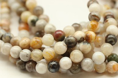 Agate, Bamboo Leaf, Natural, Smooth Round