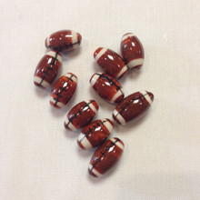 Ceramic Football Bead 17.5x10mm 10 pieces