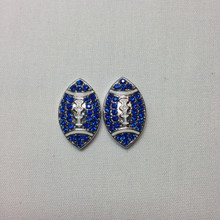 Two Blue Crystal Metal Footballs 25mmx15mm