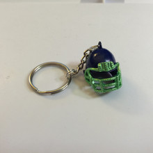 Blue & Green Enamel Football Helmet Charm 25x25mm Key Ring