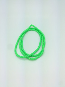 4mm Rubberized Green Glass Beads 32in strand