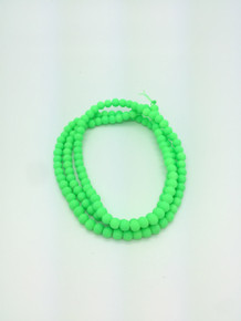 6mm Rubberized Green Glass Beads 32in strand