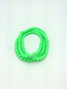 8mm Rubberized Green Glass Beads 32in strand
