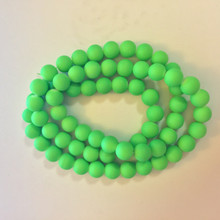 12mm Rubberized Green Glass Beads 32in strand