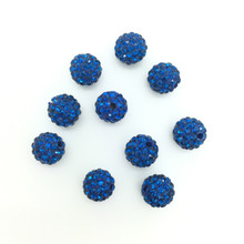Royal Blue Crystal (Pave) Balls, 8mm, Hole 1mm, 10 pieces