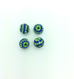 Blue & Green Crystal Balls, 10mm, Hole 1mm, 4 pieces