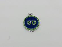 "18mm Round Blue & Green ""Go"" Charm DOUBLE LOOP 5 Pieces"