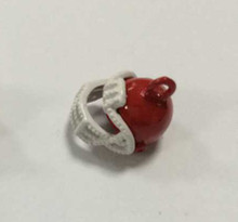 Red & White Enamel Football Helmet Charm 12x12mm