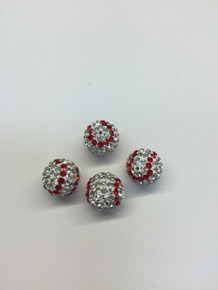 Clear and Red Crystal Baseballs Balls, 12mm, Hole 1mm, 4 pieces