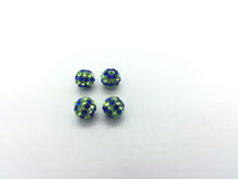 Blue & Green Crystal Balls, 6mm, Hole 1mm, 4 pieces