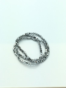 3mm Silver Faceted Bicone