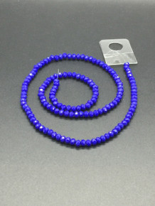 4x3mm Blue Porcelain Faceted Rondelle