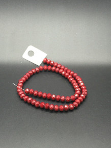 8x6mm Red Porcelain Faceted Rondelle