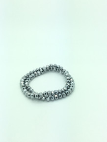 8x6mm Silver Faceted Rondelle