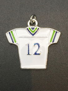 Medium #12 White & Blue Jersey Charm 28x30mm
