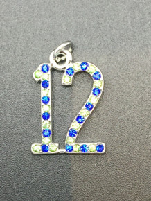 #12 Crystal Blue & Green Pendant 20x15mm