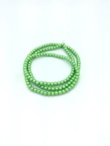 "6mm Matte Green Glass Pearls 32"" Strand"