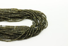 Obsidian, Golden 2mm Faceted Strand