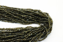 Obsidian, Golden 3mm Faceted Strand