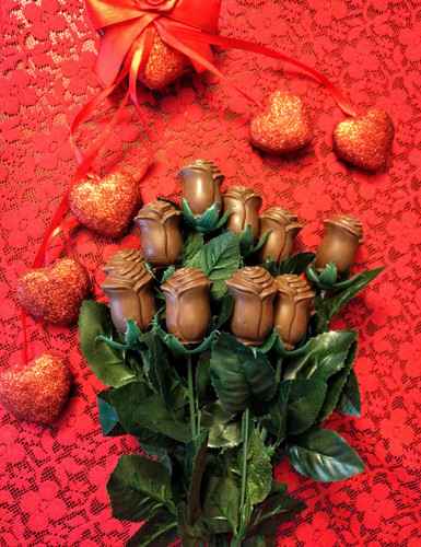 12 long stem milk chocolate roses perfect for valentines, mothers day, or any birthday