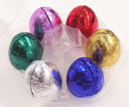 Lang's Chocolates Foiled Easter Eggs. Peanut butter, meltaway, butter cream, coconut cream, caramel, marshmallow, fruit & nut