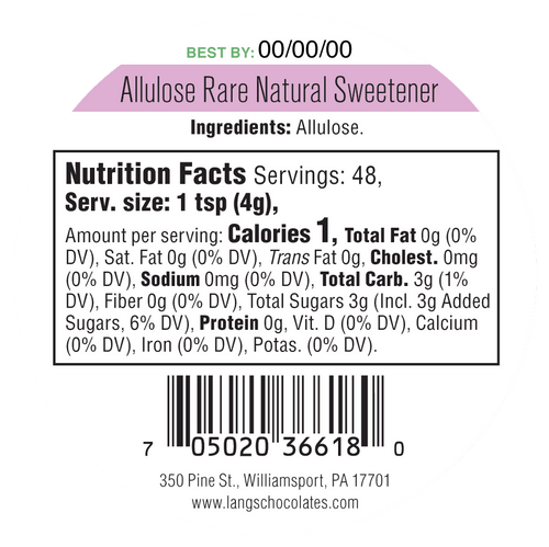 Keystone Pantry Allulose Rare Natural Sweetener Nutritional panel