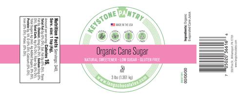 keystone pantry Organic Cane Sugar ingredient label