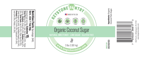 Organic Coconut Sugar 3-LB Jar ingredient label
