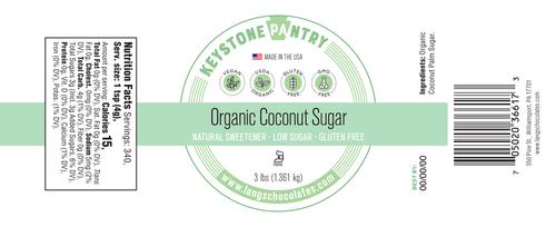 Organic Coconut Sugar 3-LB Jar ingredient label