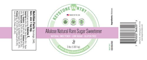 Keystone Pantry- Allulose Natural Rare Sugar Sweetener 3-Lb Jar ingredient label