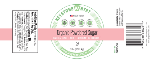 Keystone Pantry- Organic Powder Sugar 3-Lb Jar ingredient label