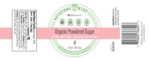 Keystone Pantry- Organic Powder Sugar 3-Lb Jar ingredient label