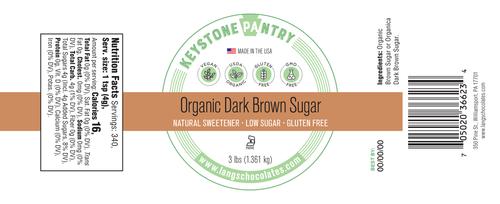 Keystone Pantry- Organic Dark Brown Sugar 3-Lb Jar ingredient label