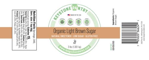 Keystone Pantry - Organic Light Brown Sugar 3-Lb Jar ingredient label