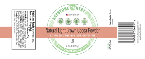 Keystone Pantry - Natural Light Brown Cocoa Powder 2-Lb Jar ingredient label