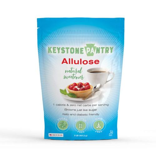 Keystone Pantry Non-GMO Allulose Powder, 2 lb Bag, Low Calorie, Zero Net Carb, Keto, Diabetic Paleo Friendly Natural Sugar Sweetener No Sugar Alcohol Soy Free Gluten Free Kosher-Parve Sugar Free