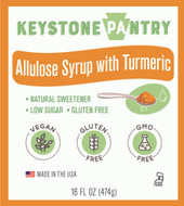 Keystone Pantry Allulose Syrup with Tumeric 1 pint bottle main label