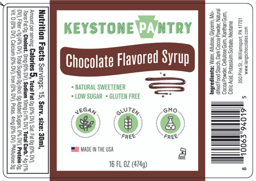 Keystone Pantry Chocolate Flavored Syrup 1 pint bottle full label