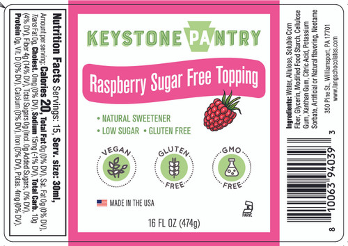 Keystone Pantry Raspberry Flavored Topping full label